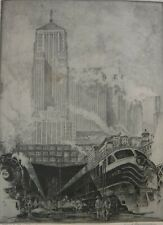 """Kent Hagerman Signed Etching """"Trackside, Chicago"""", 14""""x11"""". 1940's/50's."""
