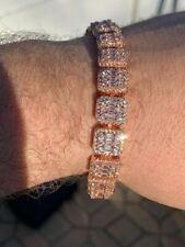 Men's Rose Gold Over Real Solid 925 Silver Baguette Tennis Bracelet Flooded Out