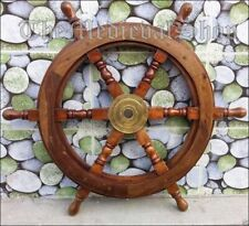 "Nautical  24"" Wooden Ship Wheel Boat Steering Marine Wall Decor Item"