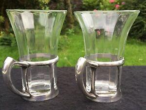 crystal glass milk shake vintage beakers + metal holders 13 cm high x 2 tumblers