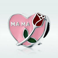 Hot 925 Sterling Silver Charm Bead Pink Rose Heart For Bracelet Mother's Jewelry