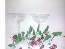 Set of 2 crystal glasses for champagne, model open or flat