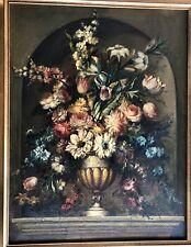 ~ CLASSICAL ORIGINAL ART OIL ON CANVAS STILL LIFE URN BRIMMING FLOWERS IN NICHE