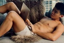 Shirtless Male Muscular Asian Jock Beefcake on Computer Laying Photo 4X6 G1027