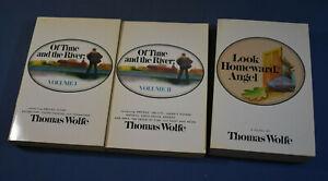 3 Thomas Wolfe Scribner's Paperbacks Of Time in 2 Vols & Look Homeward Angel