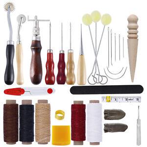 31Pcs Leder Handwerk Werkzeug Set Nähen Stanze Schnitzen Craft DIY Kits