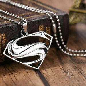 Superman Necklace Superhero Jewelry Logo Symbol Emblem Unisex Silver Tone