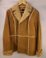 Classic Giacca Genuine Shearling Suede Leather Coat Jacket Vintage Sz XL Womens