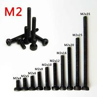25/50pcs Black Steel Metric Thread M2 Hexagon Hex Socket Cap Head Screw Bolt