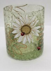 Yankee Candle - Crackle Glass DAISY LADYBUG CYLINDER Votive Tea Light Holder NEW