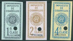 Colombia 1940's, 1,2,4 cigarette tax revenues, SPECIMEN Am. Banknote archives