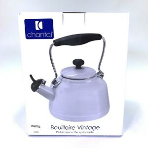Chantal White Tea Kettle 1.9 Quart Bouilloire Vintage Enamel on Steel Whistling