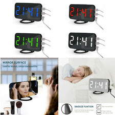Mirror LED Alarm Clock Night Light Digital Clock with USB Charging Rechargeable