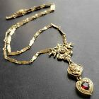 Signed GOLDETTE Vintage Gold Tone Cameo Ruby Rhinestone Heart Necklace 664
