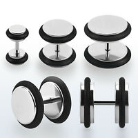 PAIR of Steel Stud Cheater Plugs For Pierced Ears w/ Acrylic O-Ring 8G-00G Sets