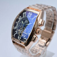 Tourbillon Automatic Mechanical Wrist Watch Men Swiss Steel Vintage Sapphire New