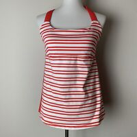 Lululemon Womens Striped Red White Tank Top Athletic Shelf Bra Racerback Size 8