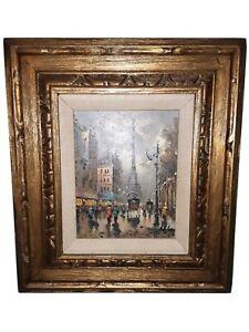 Vintage 1950s Street Scene Paris France Eiffel Tower Oil On Canvas Painting