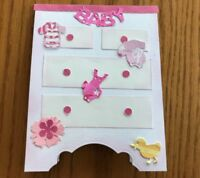 Baby Girl Card Pink White Dresser Clothes Toys FlowerHandmade.