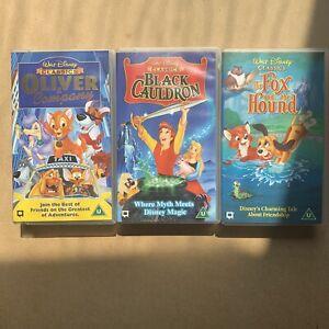 1980s Walt Disney VHS Video Tape Bundle 3 Classic Movies Animation 80s Children