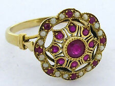 759 Genuine 9ct SOLID Yellow Gold NATURAL Ruby & Pearl Vintage style Ring size N