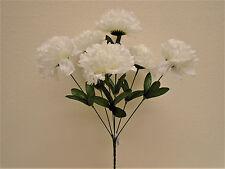 "4 Bushes CREAM Carnation 6 Artificial Silk Flowers 16"" Bouquet FB341CR"