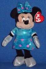 TY DISNEY MINNIE MOUSE TEAL SPARKLE DRESS BEANIE BABY - MINT with MINT TAGS