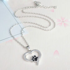 Charm Silver Cute Pet Lover Necklace Puppy Cat Dog Paw Print Pendant Heart Chain