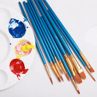 10Pcs/set Gouache paint brushes round pointed tip nylon hair painting brush  ^P