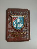 Vintage Old Style Beer NON LIGHTED  Advertisement Sign Faux Wood