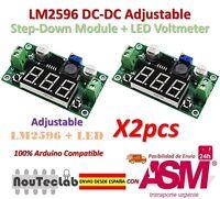 2PCS LM2596 DC-DC Adjustable Step-Down Power Module + LED Voltmeter DC/DC