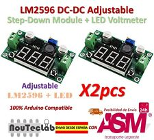 2PCS LM2596 DC-DC Adjustable Step-Down Power Module + LED Voltmeter DC/DC