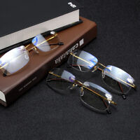 Progressive Multifocal Lens Anti-blue Light Rimless Reading Glasses Presbyopia