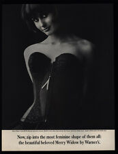 1961 Sexy Woman Wearing Warner'S Merry Widow Black Slimwear Corset Vintage Ad