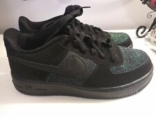 Nike Air Force 1 Girls Black & Green Sparkle Size 6.5Y