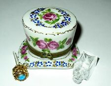 LIMOGES BOX - FLORAL TOP HAT & PERFUME BOTTLE -PINK ROSES & GOLD LEAVES- FLOWERS