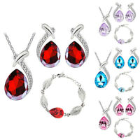 Women's Rhinestone Necklace Water Drop Pendant Earrings Ring Jewelry Set Surpris