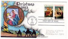 #2063 Christmas Combo Dorothy Knapp Hand Painted Cachet 1983 FDC