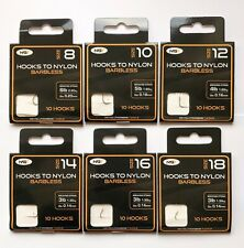 60 Assorted NGT Barbless Hooks To Nylon Size 8, 10, 12, 14, 16 & 18's 10 of each