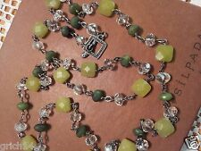 SILPADA OXIDIZED STERLING SILVER CANADIAN & OLIVE JADE CRYSTAL NECKLACE N1247