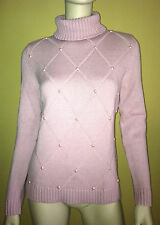 LIZ CLAIBORNE Turtleneck Knit Sweater Long Sleeve Pearl Embellished Pink PL