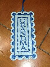 "Embroidered Bookmark - ""Grandma"" - Blue colors"