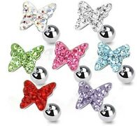 New Surgical Steel Gem Butterfly Tragus Cartilage Helix Piercing Ear Stud