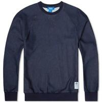adidas ORIGINALS CREW NECK SWEATER INDIGO NAVY MEN'S DENIM COTTON TREFOIL SMART
