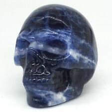"Skull Statue 2""Natural Blue Sodalite Carved Stone Figurine Halloween Decor 2961"