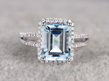 1ct Emerald Cut Aqua Blue Topaz Split Shank Engagement Ring 18ct White Gold Over