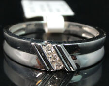 10k White Gold Men's Three Stone Genuine Round  Diamond Wedding Band Ring 6mm