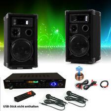 Karaoke Set PA Lautsprecher Boxen Mikrofon Bluetooth USB SD MP3 Verstärker Radio