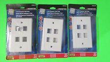 Lot of 3 Monster 4 Port Computer Wall Plate - White- #140238