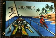 """Pirate Off Duty Bahamas 12"""" x 18"""" Two Sided Flag Boat Ship Motorcycle"""